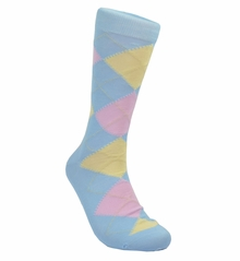 Lite Blue Argyle Cotton Dress Socks by Paul Malone