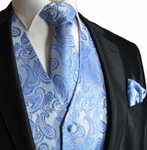 Lite Blue Paisley Wedding Vest Set (Q20-C)