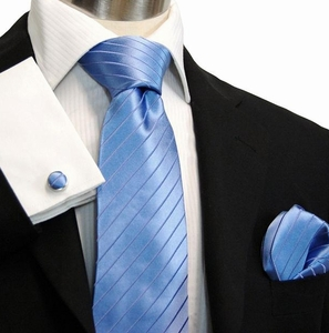 Lite Blue Paul Malone Silk Necktie & Accessories (928CH)