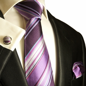 Luxurious Purple & Pink Silk Tie Set by Paul Malone (251CH)
