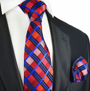 Mars Red Plaid Silk Tie Set by Paul Malone