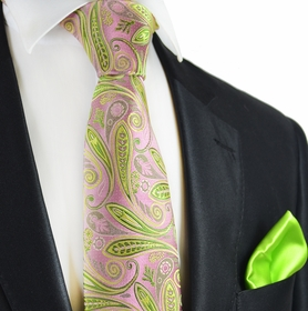 Mellow Rose and Lime 7-fold Silk Tie Set by Paul Malone