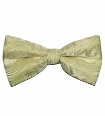 Men's Bow Tie . Pretied or Self-tie . Cream Paisley (BT20-I)