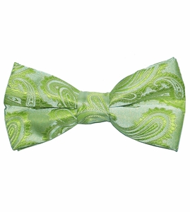 Men's Bow Tie . Pretied or Self-tie . Green Paisley (BT20-L)