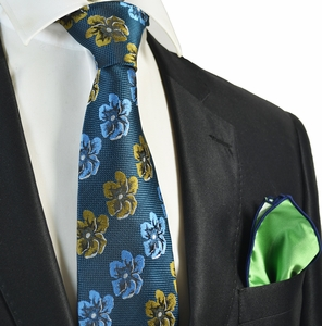 Midnight Blue Floral Men's Tie Combo with Rolled Pocket Square