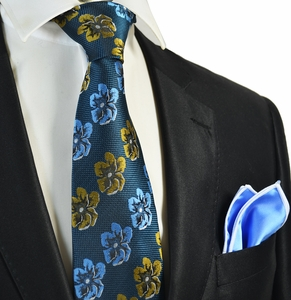Midnight Blue Men's Tie Combo with Rolled Pocket Square