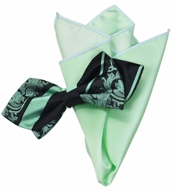 Mint and Black Silk Bow Tie with Rolled Trim Pocket Square