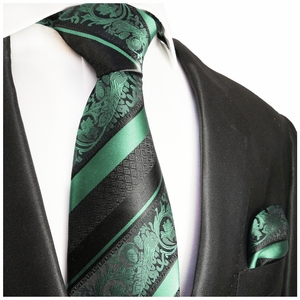 Mint and Black Silk Tie and Pocket Square by Paul Malone