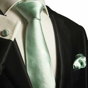 Mint Green Silk Tie Set by Paul Malone (1001CH)