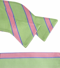 Mint Green and Pink Bow Tie and Pocket Square Set . 100% Silk (BT844H)