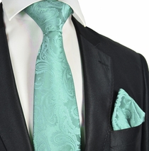 Mint Paisley Necktie and Pocket Square Set