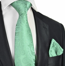 Mist Green Paisley Tie and Pocket Square