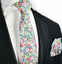 Misted Yellow Flower Tie and Pocket Square. 100% Cotton