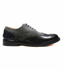 Modern Paul Malone Oxfords in a Leather-Textile Combination
