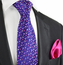Mood Indigo and Violet 7-fold Silk Tie Set by Paul Malone