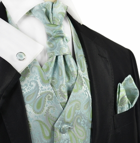 Morning Mist Paisley Tuxedo Vest Set by Paul Malone