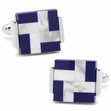 Mother of Pearl and Lapis Windmill Square Cufflinks