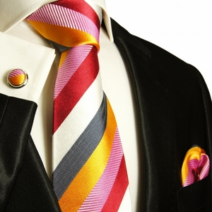 Multi Color Paul Malone Silk Tie Set (242CH)