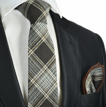 Mustang Brown Plaid Linen Tie and Pocket Square by Paul Malone