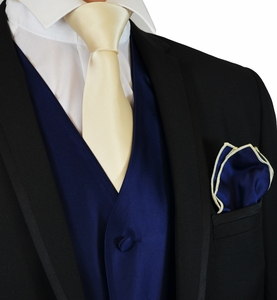 Navy and Champagne Tuxedo Vest, Tie and Pocket Square