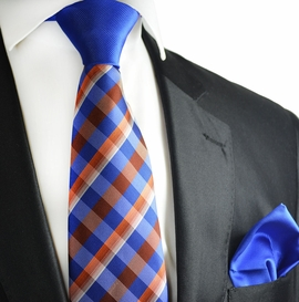 Royal Blue and Copper Coin Contrast Tie Set by Paul Malone