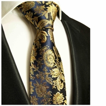 Navy and Gold Paul Malone Designer Silk Tie (683)