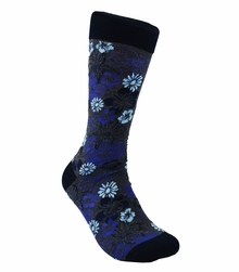 Navy and Grey Cotton Dress Socks by Paul Malone