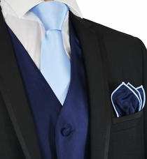 Navy and Lite Blue Suit Vest, Tie and Pocket Square