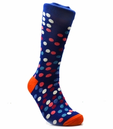 Navy and Orange Cotton Socks by Paul Malone