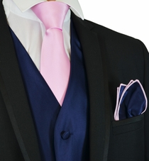 Navy and Pink Tuxedo Vest, Tie and Pocket Square