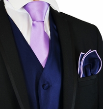 Navy and Purple Suit Vest, Tie and Pocket Square