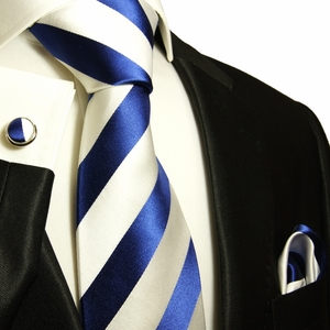Navy and White Paul Malone Silk Tie Set (405CH)
