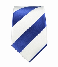 Navy and White Striped Boys Silk Tie