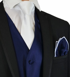 Navy and White Tuxedo Vest, Tie and Pocket Square