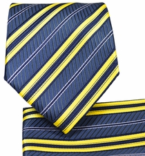 Navy and Yellow Striped Tie and Pocket Square Set