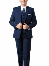 Navy Blue 5-piece Boys Suit Set with Vest, Shirt and Tie