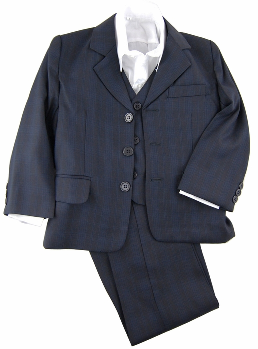 Navy Blue Boys Suit With Vest And Dress Shirt Checkered
