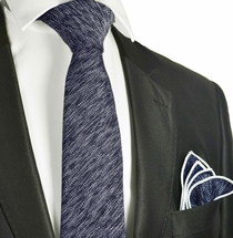 Navy Blue Cotton Tie Set by Paul Malone