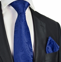 Navy Blue Paisley Men's Tie and Pocket Square