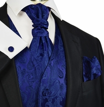 Navy Blue Paisley Tuxedo Vest and Tie Set by Paul Malone