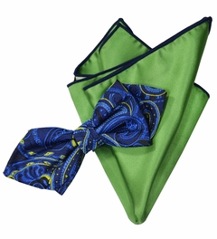 Navy Blue Silk Bow Tie with Rolled Bordered Pocket Square