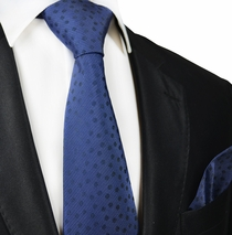 Navy Blue Silk Tie and Pocket Square by Paul Malone