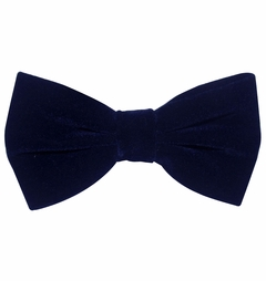 Navy Blue Velvet Bow Tie and Pocket Square Set