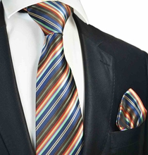 Navy Striped Tie and Pocket Square Set