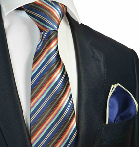 Navy Striped Tie with Contrast  Rolled Pocket Square Set