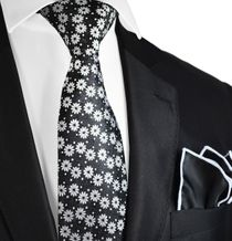 Necktie and Pocket Square in Black and White Floral Pattern by Paul Malone