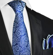 Necktie and Pocket Square in Blue and Navy Paisley Pattern by Paul Malone