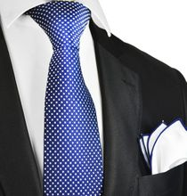 Necktie and Pocket Square in Blue and White Check Pattern by Paul Malone