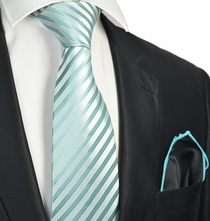 Nile Blue Striped Tie with Contrast Rolled Pocket Square Set