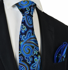 Ocean Blue Paisley Steven Land Big Knot Silk Tie and Pocket Square
